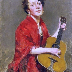 """William Merritt Chase A Girl with Guitar - 16"""" x 24"""" Premium Archival Print - 16"""" x 24"""" William Merritt Chase A Girl with Guitar premium archival print reproduced to meet museum quality standards. Our museum quality archival prints are produced using high-precision print technology for a more accurate reproduction printed on high quality, heavyweight matte presentation paper with fade-resistant, archival inks. Our progressive business model allows us to offer works of art to you at the best wholesale pricing, significantly less than art gallery prices, affordable to all. This line of artwork is produced with extra white border space (if you choose to have it framed, for your framer to work with to frame properly or utilize a larger mat and/or frame).  We present a comprehensive collection of exceptional art reproductions byWilliam Merritt Chase."""