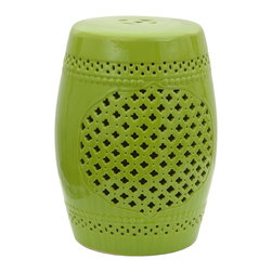 "Oriental Furniture - 18"" Green Lattice Porcelain Garden Stool - Be part of the latest trend in interior design with this beautiful green garden stool! Hand-sculpted from porcelain and finished with a vibrant green glaze, this finely crafted product is a hip and fashionable addition to any style of decor. Inspired by the ornate lattice screens common in the Middle East, this garden stool is a perfect marriage of classical design and modern aesthetics. Suitable for outdoor use, this garden stool features a water-resistant glaze and an open base. Perfect for brightening up a room, this porcelain stool will look fabulous in your house, apartment, garden, or place of business!"