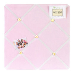 Sweet Jojo Designs - Ballerina Fabric Memo Board - The Ballerina Fabric Memo Board with button detail is a great way to display photos, notes, and postcards on your child's wall. Just slip your mementos behind the grosgrain ribbon to create an engaging piece of original wall art. This adorable memo board by Sweet Jojo Designs is the perfect accessory for the matching children's bedding set.The Ballerina Fabric Memo Board is 14in. x 14in. and comes with metal hangers on the back for easy hanging on the wall.