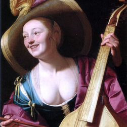 """Gerrit Van Honthorst A young woman playing a viola da gamba - 18"""" x 24"""" Premium - 18"""" x 24"""" Gerrit Van Honthorst A young woman playing a viola da gamba premium archival print reproduced to meet museum quality standards. Our museum quality archival prints are produced using high-precision print technology for a more accurate reproduction printed on high quality, heavyweight matte presentation paper with fade-resistant, archival inks. Our progressive business model allows us to offer works of art to you at the best wholesale pricing, significantly less than art gallery prices, affordable to all. This line of artwork is produced with extra white border space (if you choose to have it framed, for your framer to work with to frame properly or utilize a larger mat and/or frame).  We present a comprehensive collection of exceptional art reproductions byGerrit Van Honthorst."""