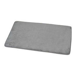 Microfiber Bath Rug, Grey - This microfiber bath rug is 100% polyester. Ultra-soft touch and sophisticated in any bathroom, this bath rug prevents slips with its PVC non-skid backing. Machine wash cold and no dryer. Width 17-Inch and length 29.5-Inch. Indoor use only. Color grey. Add underfoot softness and a perfect finishing touch to your bathroom decor with this trendy microfiber bath rug! Complete your decoration with other products of the same collection. Imported.