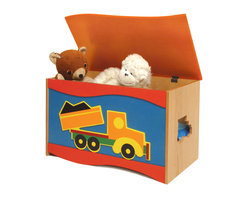 Boys Like Trucks Toy Box - A large quality toy chest that will be treasured as much as the treasures it holds.  A big tow truck accents this toy chest, made of birch veneers and finished in colorful stains. Wave shaped lid is solid birch wood. Safety hinges and finger space under lid ensure that little fingers won't get hurt.