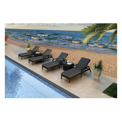 Forever Patio - Urbana 6 Piece Wicker Chaise Lounge Set, Charcoal Cushions - The Harmonia Living Urbana 6 Piece Rattan Patio Chaise Lounge Set with Gray Sunbrella cushions (SKU HL-URBNWS-6RCLS-CC) brings comfort and style to your outdoor space. Each chaise is constructed with durable, thick-gauged aluminum frames which are protected by a powder coating for superior corrosion resistance. The wicker is made of High-Density Polyethylene (HDPE) with its Coffee Bean color and UV resistance infused into the strands themselves. This creates a rich wicker color that holds up incredibly well with age.Thick, comfy cushions are covered in Canvas Charcoal fabric by Sunbrella, the industry leader in mildew- and fade-resistant outdoor fabric. This chaise adheres to the highest quality standards for modern patio furniture in the market today, meaning it will last for years to come.