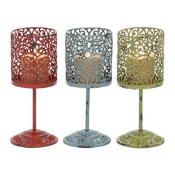 Beautiful Metal Candle Holder 3 Assorted with Unique Style - Elegant and attractive, this metal candle holder has a versatile appeal and can be used with all decor settings. Designed from high grade metal, this minimalistic looking decor piece includes three candle holders in red, blue and green. Place it on the side tables or showcases for a perfect look. A product that promises to last you long, this one is made for the people who have a taste towards antique products. Bring this assorted holder home and let your guests praise your choice for home decoration. Moreover, it can also be used as a gift item for anniversaries and token of love Designed to perfection, this candle stand features lamp shaped holders that make it even more stylish.. It comes with following dimensions