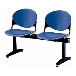 KFI Seating - Freestanding Armless Beam Chair w 2 Seats & B - Color: Cool Grey2-Seat beam. Made of 15 gauge steel standex frame, powder-coated in black. High impact polypropylene seat and back. Injection aluminum alloy back supports. Free standing with adjustable glides. Great for waiting rooms and common areas. Pictured in Navy Blue. 47 in. W x 22 in. D x 31 in. H