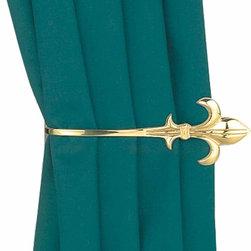 "Renovators Supply - Tie Backs Bright Brass Curtain Tie Back - The Fleur De Lis tieback measures 2 1/2"" wide x 7 1/4"" long."