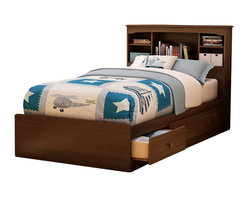 South Shore - South Shore Nathan Kids Twin Mates Storage Bed Frame Only in Cherry Finish - South Shore - Beds - 3356212 - The Nathan Mates Bed is crafted from engineered wood products in a Sumptuous Cherry finish. This twin size mates bed features three storage drawers to store all your kids toys clothing and other valuables. With an elegant design and underbed storage spaces the Nathan Mates Bed is the ideal central fixture for your kids bedroom.The Nathan Collection by South Shore Furniture offers traditional styling with a touch of contemporary design elements. This collection of children's furniture features metal handles a decorative kickplate and extensive closed and open storage spaces for toys clothing and other items. With a rich Sumptuous Cherry finish the South Shore Furniture Nathan Collection is sure to garner praise from all who see it.Features: