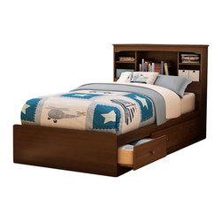 South Shore - South Shore Nathan Kids Twin Mates Storage Bed Frame Only in Cherry Finish - South Shore - Beds - 3356212 - The Nathan Mates Bed is crafted from engineered wood products in a Sumptuous Cherry finish. This twin size mates bed features three storage dra