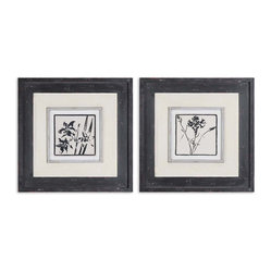 Black & White Floral Art, Set of 2