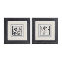 Uttermost - Black & White Floral Art, Set of 2 - Get your Zen on with these sophisticated framed pictures. Two beautiful blooms in calligraphic black adorn the sand-colored paper, highlighting the red base coat of their gray-black frames. Hang these pretty pictures where you can appreciate their fine detail everyday.