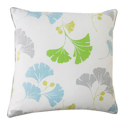 JITI - Gingko Marine Cotton Pillow - Another great use for gingko. The cheery gingko leaf pattern of this terrific throw pillow will make a lively addition to your living room or bedroom. This delightful square pillow has a removable cotton cover over an insert made from a feather and down blend.