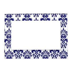 Navy Blue, White Vintage Damask Pattern 2 Magnetic Picture Frames - This blue and white 5- by 7-inch magnetic photo frame is a great affordable gift idea.