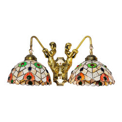 Antique Tiffany Style Peacock Wall Reading Lamp - A perfect wall sconce should have both functional and decorative values. This Tiffany style wall sconce has a handcrafted glass shade with elegant (sunflower) design in vibrant hues, providing both lighting functions and visual interest to your home decor.