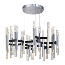 Sonneman Lighting - Sonneman Lighting 2278.54 Champagne Sonata 24-Arm LED Pendant Light In Polished - Sonneman Lighting 2278.54 Champagne Sonata 24-Arm Led Pendant Light In Polished Chrome And Black