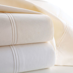 Matouk - Marcus Collection Solid Percale Sheet Set Queen - WHITE - MatoukMarcus Collection Solid Percale Sheet Set Queen