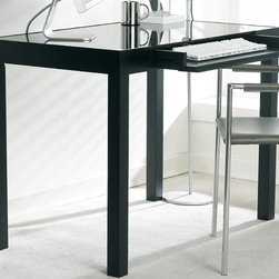 Sunpan Imports - Philmore Computer Table Desk with Black Glass Top - Take your contemporary office space to a professional level with the Philmore computer table. It features post leg styling with a heavy-duty black glass insert designed for computers or laptops. The center drawer can accommodate a keyboard or small office supplies. Center drawer folds down as a keyboard extension. Compact and contemporary. Heavy black glass top. Made of birch wood and veneer. Dark espresso finish. Assembly required. 40 in. W x 23.5 in. D x 30 in. H