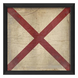 The Artwork Factory - Signal Flag V Print - Ships requiring assistance would waive this flag, but that doesn't mean you can't hang it in your living room. The vintage-inspired framed print is a classic node to international maritime traditions. Its 12-color pigment ink and a wood frame make it ready to hang in your living room or office.