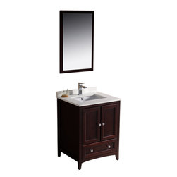 """Fresca - Oxford 24"""" Mahogany Traditional Vanity Cascata Chrome Faucet - Blending clean lines with classic wood, the Fresca Oxford Traditional Bathroom Vanity is a must-have for modern and traditional bathrooms alike.  The vanity frame itself features solid wood in a stunning mahogany finish that?s sure to stand out in any bathroom and match all interiors.   Available in many different finishes and configurations."""