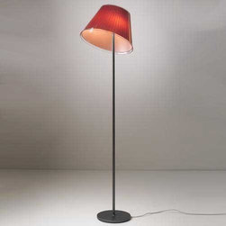 Artemide - Choose Floor Lamp - Choose Floor Lamp features a base in Zamac with a painted grey metal structure and adjustable diffuser in transparent polycarbonate with pleated design incorporating a Red silk and polycarbonate fiber blend or Parchment Paper removable insert. Diffuser adjusts with a transparent clip to full down position and 30 degree up position as well as 350 degree rotation around its vertical axis. On/off switch on cord. Requires two 75 watt 120 volt A19 medium base incandescent lamps, not included. UL listed. Dimensions: 14 inch diameter x 55 inch height.