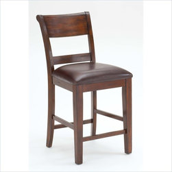 Hillsdale - Hillsdale Park Avenue Dining Counter Stools in Dark Cherry (Set of 2) - Hillsdale - Bar Stools - 4692822 - Sturdy and stylish the Hillsdale Park Avenue counter height dining set is a fabulous addition to your home. The non-swivel stools are reminiscent of traditional ladder back style with a hint of transitional design in the wide top slat and easy to care for brown faux leather seat. Last but not least the distressed dark cherry finish adds warmth to this handsome dining group. Some assembly required.