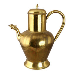 EuroLux Home - Large Consigned Vintage French Brass Lidded Pitcher - Product Details