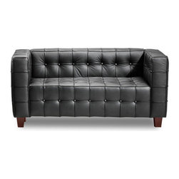Button Loveseat, Black - With sophisticated ribbing and button pattern, the appropriately named Button series has all leather seating surfaces with leatherette back and sides and solid wood legs.