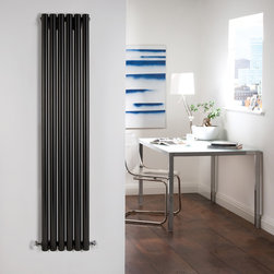 Hudson Reed - Savy High Gloss Black Tall Vertical Designer Radiator 63 x 14 & Valves - Six circular vertical tubes, finished in superior high gloss black (RAL9005), make this radiator a striking design feature of any contemporary living space. The large diameter tubes deliver an amazing heat output of 1175 Watts (4012 BTUs).Stylish and effective, this modern classic connects directly into your domestic central heating system by means of the radiator valves included . High Gloss Black Vertical Tube Designer Radiator 63 x 14 Features  Dimensions (H x W x D): 63 x 14 x 3.25 (1600mm x 354mm x 82mm) Output: 1175 Watts (4012 BTUs) Maximum Projection from Wall: 5.25 (133mm) Pipe centres with valves: 17.3 (440mm) Number of columns: 6 Circular columns Fixing Pack Included (see image above) Designed to be plumbed into your central heating system Suitable for bathroom, cloakroom, kitchen etc. Weight: 43.65 lbs (19.8kg) Please note: angled radiator valves included  Please Note: Our radiators are designed for forced circulation closed loop systems only. They are not compatible with open loop, gravity hot water or steam systems.