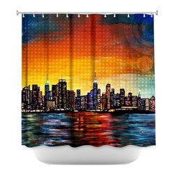 DiaNoche Designs - Shower Curtain Artistic - New York Skyline - DiaNoche Designs works with artists from around the world to bring unique, artistic products to decorate all aspects of your home.  Our designer Shower Curtains will be the talk of every guest to visit your bathroom!  Our Shower Curtains have Sewn reinforced holes for curtain rings, Shower Curtain Rings Not Included.  Dye Sublimation printing adheres the ink to the material for long life and durability. Machine Wash upon arrival for maximum softness on cold and dry low.  Printed in USA.