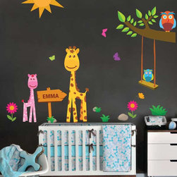 Nursery wall decals-animals decal for nursery-Branch-Giraffe-Owl-Fabric Vinyl-Pe - This listing is for Giraffe and owl family decal . This set is a perfect way to add some colors to your nursery room. You can apply these decals wherever you want; wall, furniture,glass,.... It's not only removable, but also Reusable.