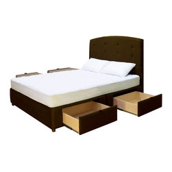 Lovely Furnishings - Tiffany 4 Drawer Platform Storage Bed, Microfiber Olive, King - Use your bedroom space efficiently and in style with the Tiffany Platform Storage Bed. This platform bed is upholstered in your choice of fabric and features four (4) large, spacious drawers, saving you valuable bedroom space in a stylish design.