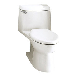 "American Standard - American Standard 2004.014.020 Champion 4 Elongated One-Piece Toilet, White - American Standard 2004.014.020 Champion 4 Elongated One-Piece Toilet, White. This elongated combination toilet features a vitreous china construction, an EverClean surface, a 4"" piston action Accelorator flush valve, a 2-3/8"" fully-glazed trapway, an elongated siphon action bowl, and a 12"" Rough-in. This model measures 29-3/4"" by 17-3/4"" by 28-1/8"", and it comes with the bolt caps, but no seat."