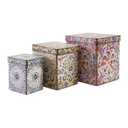 Imax - Modern and Unique Multi Set of 3 Victoria Artsy Boxes Home Decor - A trio of paper-covered boxes with graphic, global-inspired patterns catch the eye and corral clutter. Color is Multi. Material is 73% MDF, 27% Paper.