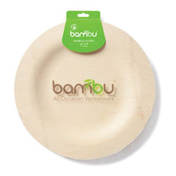 Bambu - Bambu Veneerware Bamboo Round Plates, 8-Pack - Throwing a party and need some disposable dishware? Look no further. Bamboo plates are the perfect solution for those who want the convenience of sturdy paper plates without the attendant harm to the environment. As a sustainable alternative to other woods, you'll never need to feel guilt about tossing one of these bamboo plates after a party. They're also organic, so you know that the bamboo was ethically sourced and free of pesticides and harmful dyes or additives.