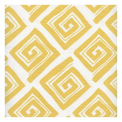 "Close to Custom Linens - 24"" Curtain Tiers, Lined, Maze Corn Yellow - Maze is a casual geometric pattern in corn yellow on a natural cotton slub background. The diamond shapes are 5.25"" wide. Includes two panels."