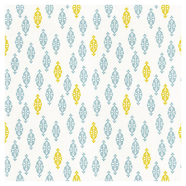 Aqua & Yellow Mini Emblem Cotton Fabric - Small Indian boteh motif in bright aqua & mustard yellow on white cotton for a modern meets eclectic accent.Recover your chair. Upholster a wall. Create a framed piece of art. Sew your own home accent. Whatever your decorating project, Loom's gorgeous, designer fabrics by the yard are up to the challenge!