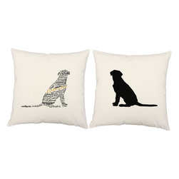 RoomCraft - Typeography Lab Pillow Cover Set 16x16 White Cotton Shams - FEATURES:
