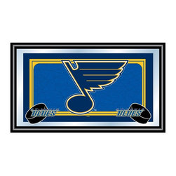 Trademark Global - Framed NHL St. Louis Blues Team Logo Mirror - All true Blues fans will appreciate this wall mirror's bold style and official yellow and blue team colors. Celebrate the legendary St. Louis hockey franchise the smart, affordable way. Officially licensed by the NHL, it has spacious rectangular profile and arrives ready to hang. Great for gifts and recreation decor. Mirror with print. Black wrapped wood frames. 26 in. W x 15 in. H (10 lbs.)This National Hockey League Officially Licensed Team Logo Wall Mirror is the perfect gift for the Hockey Fan in your life.
