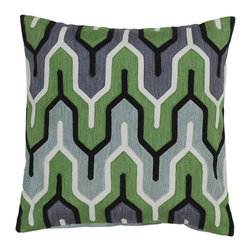"Surya - Square Cotton Pillow AR-114 - 22"" x 22"" - Add style and sophistication to any room with this modern pillow. This pillow has a polyester fill and zipper closure with accents of white, spinach green, pale blue, and midnight green. Made in India with one hundred percent cotton, this pillow is durable and priced right."