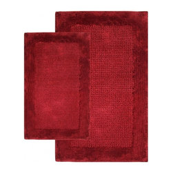 """Chesapeake Merchandising - 2 Piece Naples Bath Rug Set in Wine - Softness and Plush, The Naples Collection adds luxury to any bathroom.  This bath rug is Spun from 100% Cotton.  This bath rug is plush under foot and comes in 4 colors to coordinate with your bathroom decor.  This bath rug set includes a 21""""x34"""" and 24""""x40"""" Bath Rug. Machine Tufted with anti skid spray latex back. Dimensions: 21""""W X 34""""L and 24""""W X 40""""L; Color: Wine; Material:  Cotton; Shape: Rectangular; Construction: Machine Tufted and Powerloom"""