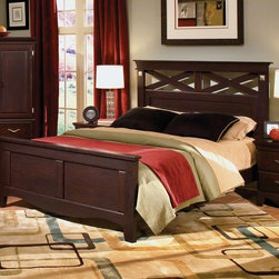 Standard Furniture - City Crossing Panel Bed - Clean urban styling gives City Crossing its versatile look and broad appeal. Features: -A subtle dark cherry merlot color is accented by decorative square overlay ornaments and curved bar metal hardware in a brushed nickel color. -Wood construction with wood grain laminates. -Special top coating. -Offers deep storage space for organizing plenty of clothing, books, and keepsakes. -Features include use of the bold X-Motif paired with clean faced drawers, deep undertop and crown moldings and smoothly shaped toe plates. -Focal point Beds, available in Full/Queen and King, have flat banister type crowns on the head and footboards and display the overstated X-Motif as an eye-catching design element in the headboard, and coordinating Vertical Mirror. -Silver color pulls accent the dark finish. -Mattress not included. -Clothing storage pieces include a 6-Drawer Dresser and 5-Drawer Chest, with a 2-Drawer nighttand for the bedside and TV Chest for media storage. -This group may contain some polyresin components. -Center-mounted drawer runners. -Care: Surfaces clean easily with soft cloth as needed.