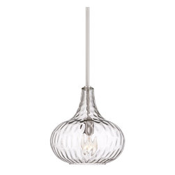 """Lamps Plus - Contemporary Cora 11"""" Wide Brushed Nickel Mini Pendant - Fantastic above smaller dining tables or in pairs this mini pendant light is sleek and stylish. A textured glass shade creates a dimensional lighting look while a brushed nickel finish adds polish. Contemporary and chic. Textured glass shade. Brushed nickel finish. Maximum 72 watt or equivalent bulb (not included). Includes one 6"""" three 12"""" downrods. 11"""" wide. 11"""" high. Canopy is 5"""" wide. Hang weight is 5 lbs.  Textured glass shade.  Brushed nickel finish.  Maximum 72 watt or equivalent bulb (not included).  Includes one 6"""" three 12"""" downrods.  11"""" wide.  11"""" high.   Canopy is 5"""" wide.   Hang weight is 5 lbs."""