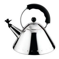 20012 - Alessi 9093 Kettle with Bird Whistle (Black) - I drink tea, even in hot weather, and I really enjoy a beautiful tea pot. The accent of a whistling bird complements the classy sleek shape.