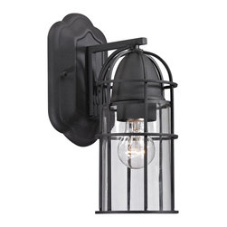 Elk Lighting - Elk Lighting Rowland Collection 1 Light Outdoor Sconce In Charcoal - 47095/1 - 1 Light Outdoor Sconce In Charcoal - 47095/1 in the Rowland collection by Elk Lighting This outdoor fixture has a rustic cage design with clear glass and a Charcoal finish to enhance it's antique charm.   Outdoor Wall Sconce (1)