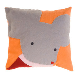 Kata Golda - Pillow - Mouse, Girl - Kata Golda's down pillow features a removable canvas slipcase that's decorated with a hand-stitched wool felt animal design. The hand-embroidered details make each pillow unique. Care: Gently spot wash with cold water by hand. Detergents can cause the wool to fade, so use caution and test in an inconspicuous area first.  Do not place items in the dryer; they will shrink.