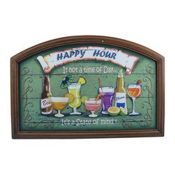 "Handcrafted Nautical Decor - Wooden Happy Hour Wall Plaque 24"" Beach Style Bedroom Decorating Beach Sign - Immerse yourself in the warm ambiance of the beach, imagining golden sands between your toes as you listen to the gentle sound of the surf, while you enjoy Handcrafted Nautical Decor's fabulous Beach Signs. Perfect for welcoming friends and family, or to advertise a festive party at your beach house, bar, or restaurant, this Wooden Happy Hour Wall Plaque 24"" sign will brighten your life. Place this beach sign up wherever you may choose, and enjoy its wonderful style and the delightful beach atmosphere it brings."