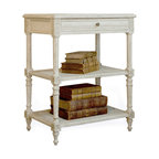 Eloquence - Napoleon French Country Antique White Caned Nightstand Side Table - Classic French interiors, especially country and farmhouse spaces combine formal craftsmanship with relaxed materials and finishes; creating that signature attitude of improvisation and effortless elegance. Caned pieces like this chic reproduction antique nightstand embody this quality to perfection: feminine but not fussy, elegant but not precious, and ready for the city or country. Sweet dreams!