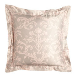 """Lili Alessandra - Lili Alessandra Mackie European Sham, 26""""Sq. - These blush and taupe print linens can go in the washer. They only look and feel as if they're made of silk. Battersea quilted coverlets with mini ruffle are available in Taupe or Ivory; select color when ordering. Greek-key pillows are hand appliqued..."""