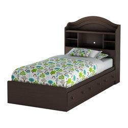 South Shore - Twin Bedset w Bookcase Headboard - Summer Bre - Manufactured from eco-friendly, EPP-compliant laminated particle boardcarrying the Forest Stewardship Council (FSC) certification. Features 3 practical drawers. Wooden knobs. Box spring not required. Smart Glide drawer slides feature stops and built-in dampers. Mattress and pillows are not included. Country style. Ready to assemble. Assembly required. 5-Year Warranty. Bed: 76 in. L x 41 in. W x 16 in. H. Twin bookcase headboard: 41 in. L x 10 in. W x 48 in. HManufactured from laminated particle board. Our products are made of EPP certified panels (Environmentally Preferred Product). This item's packaging is ISTA 3A-certified to ensure its integrity and your total satisfaction. Shrink-wrapped packaging with reinforced corners to reduce the risk of shipping damage.
