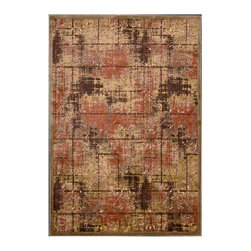"""Kathy Ireland - Kathy Ireland KI02 Santa Barbara KI305 2'1"""" x 7' Brown Area Rug 10229 - Intentionally distressed, warm, saturated shades lend incredible inspiration to a charmingly easy-going, all American plaid pattern. An innovative textural treatment highlights key design elements. Extraordinary depth and dimension are created with silk-like cut pile polypropylene on ultra-soft, flat woven grounds. Our Montecito rug lives in our Americana Style Guide."""