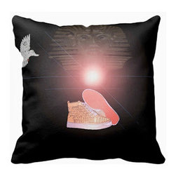 Tomova Jai Designs - Pharoah Royalty Style Decorative Pillow - This stylish pillow is an original illustration and graphic by Tomova Attles of Tomova Jai Designs and is displayed on a black pillow.